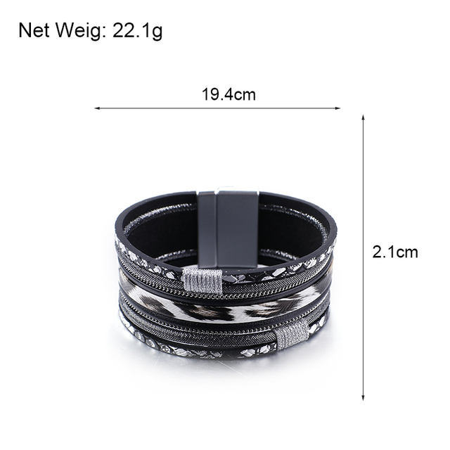 Black Leather Wrap Bracelet sizing dimensions for customers