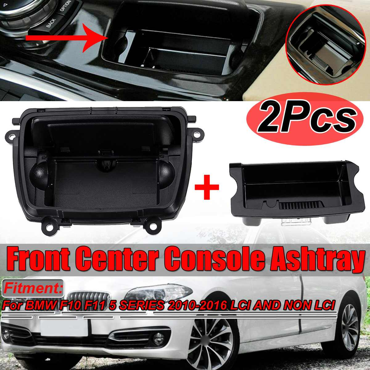 Car Front Center Console Ashtray Assembly Holder For Car For BMW 5 Series F10 F11 F18 520 523 525 528 530 51169206347 9206347
