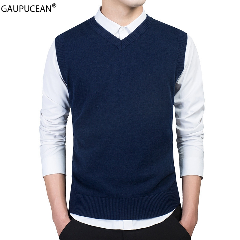 100% Cotton Anti-static Anti-pilling Soft Knitted Man Vest Blue Knitwear Pullover V-Neck Casual Formal Men Sleeveless Sweater