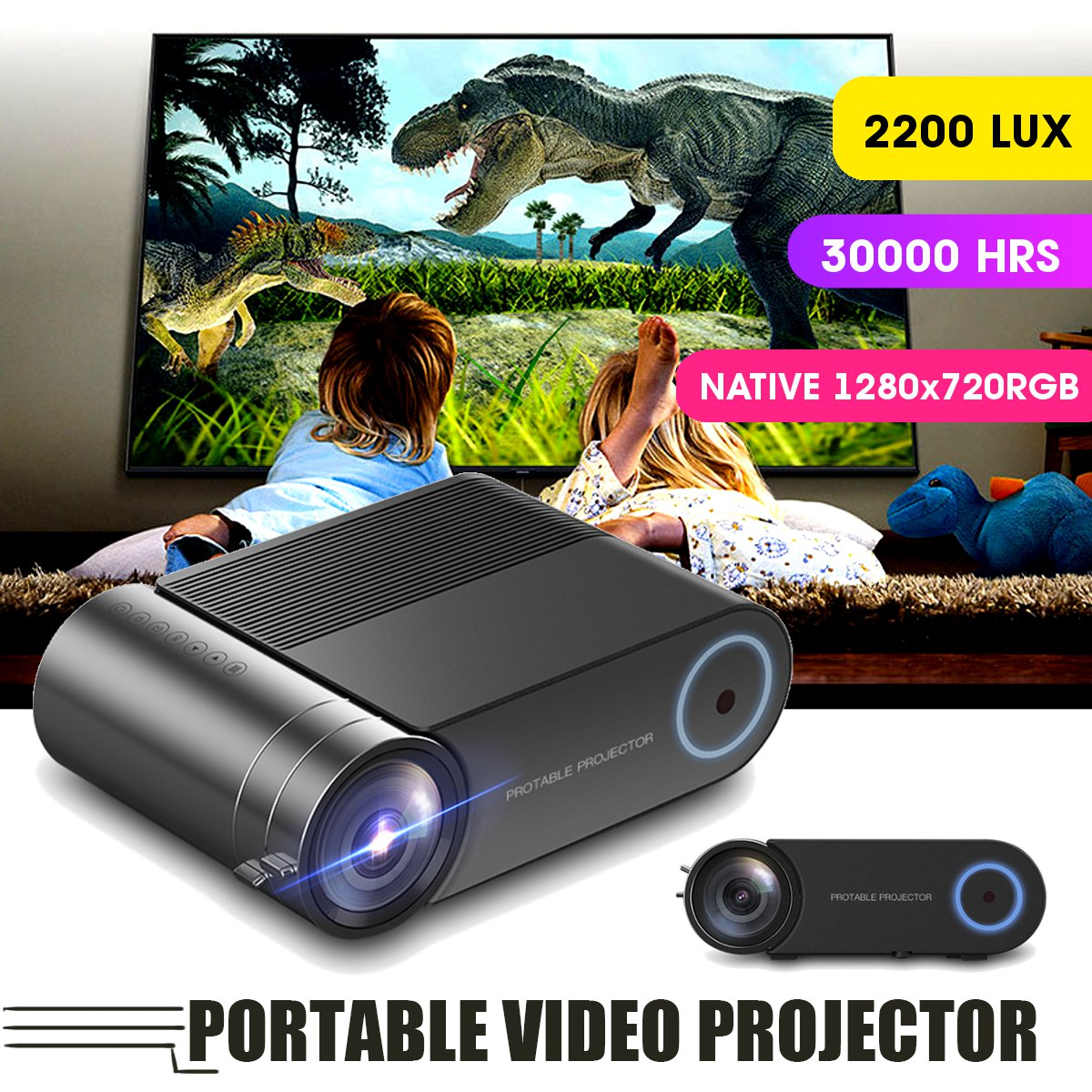 4K 3800 Lumes LED Mini Projector Video Beamer Portable for Home Outdoor Cinema Support HD Display For iPhone/Android image