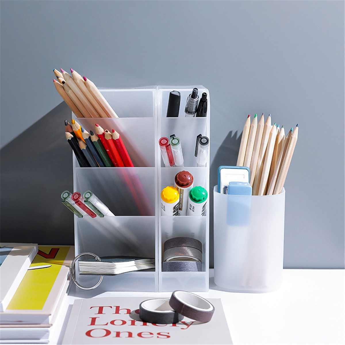 Multi-function 4 Grid Desktop Pen Holder Office School Storage Case Clear Colorful Plastic Box Desk Pen Pencil Organizer