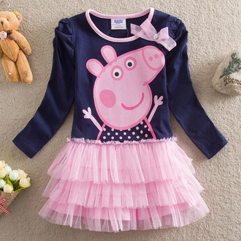 Peppa Pig Baby Girls Summer Wintter Dresses Short Long Sleeve Cotton Lace Princess Print Striped For Kids Children Clothing