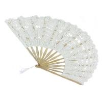 HLZS 10 Pieces / Wedding White Or Lace Fan Wedding Hand Fan Bride Party Gift Hand Fan Lace Hand Fan For Wedding Gift