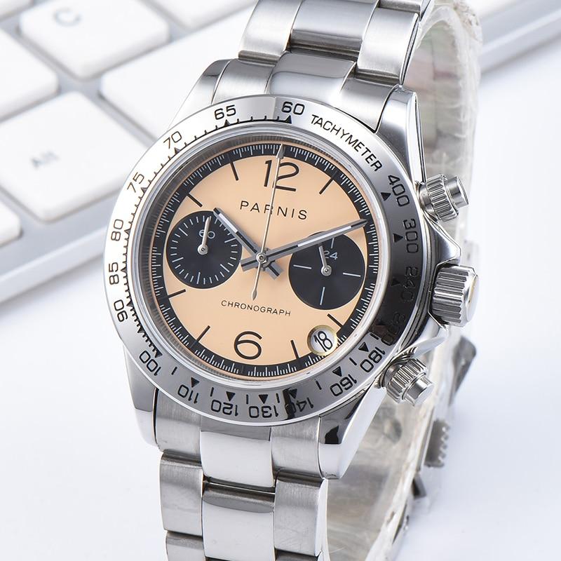 Повседневные мужские кварцевые часы Parnis, 39 мм, 22 мм, ремешок, стальной браслет, хронограф, мужские часы, VK63, календарь, движение, для мужчин, t