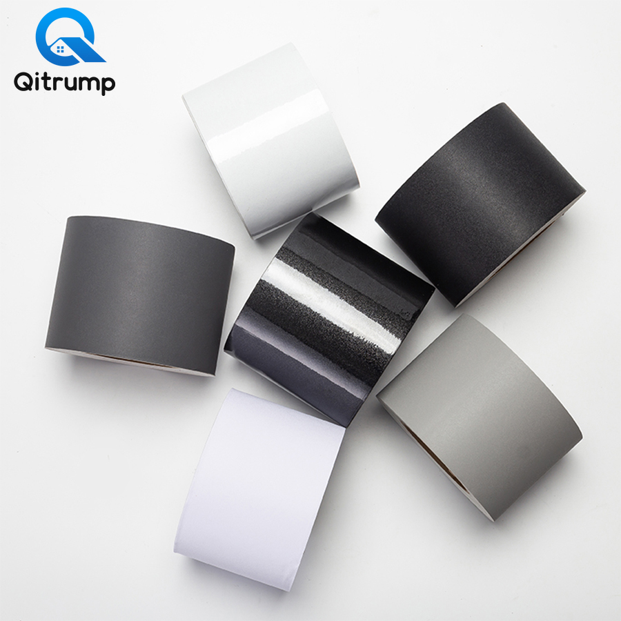 5M/10M White Black Series Waist Lines Wallpapers Living Room Bathroom Self Adhesive Waterproof Border Wall Stickers Home Decor