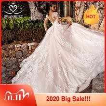 Vestido De novia con encaje De princesa vestido De novia De manga larga elegante 2019