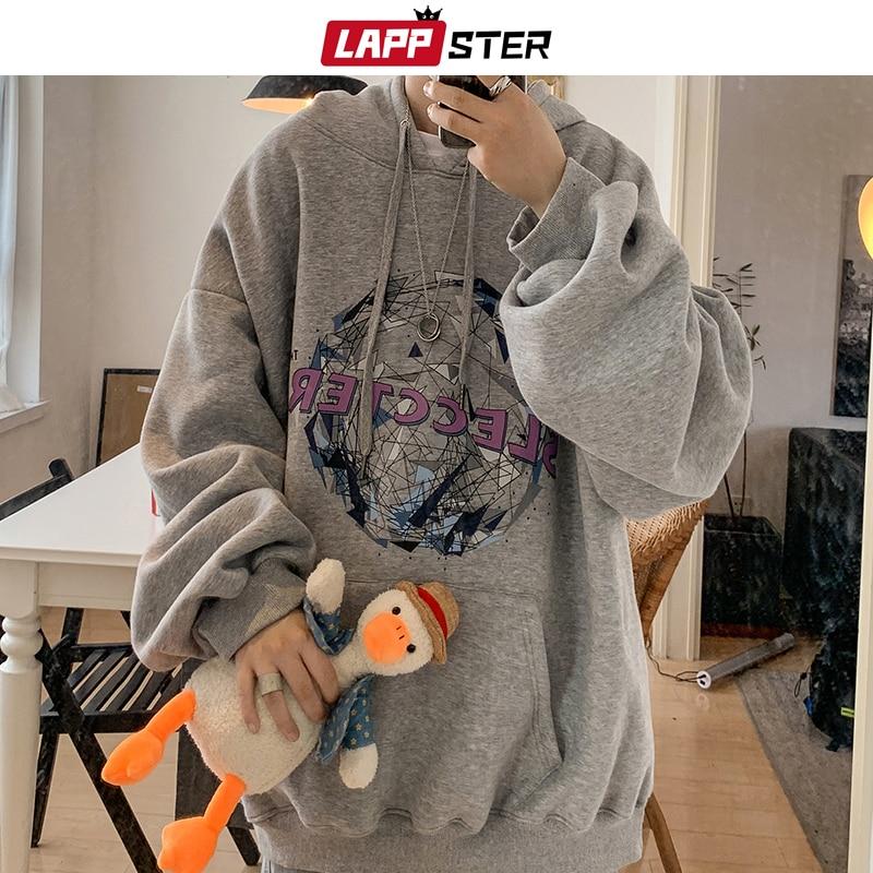 LAPPSTER Men Fleece Harajuku Hooded Hoodies 2020 Mens Oversized Japanese Streetwea Sweatshirts Male Koreanfashions Grey Hoodie