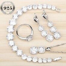 Ensemble de bijoux en Zircon blanc pour femmes, argent 925, Bracelets, pendentifs, boucles doreilles avec ensemble de pierres, boîte cadeau gratuite
