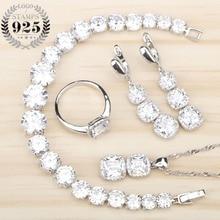 Kadın beyaz zirkon gümüş 925 takı setleri bilezikler kolye kolye yüzük küpe taşlarla Set takı ücretsiz hediye kutusu