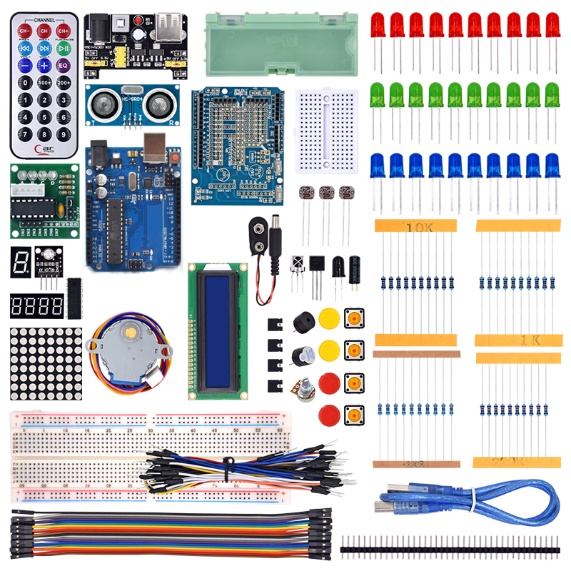 WeiKedz 2019 The Most Complete Starter Kit For Arduino R3 With Tutorial /1602 LCD / R3 Board/Resistor