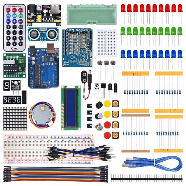 WeiKedz Kit de iniciación más completo para Arduino R3, con Tutorial/2020 LCD/placa R3/resistencia, 1602