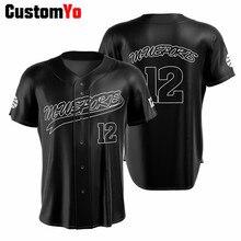 Создайте свою собственную бейсбольную рубашку с именем спонсора, Черная бейсбольная Джерси из полиэстера