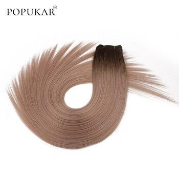 цена на Popukar ombre human hair weft extension bundles 100g russian blonde raw extensions remy human hair