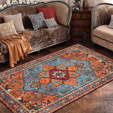 Fashion Persian Ethnic-Style Rug Retro Geometric Pattern Bedroom Living Room Carpet Kitchen Bathroom Floor Mat Bed Blanket