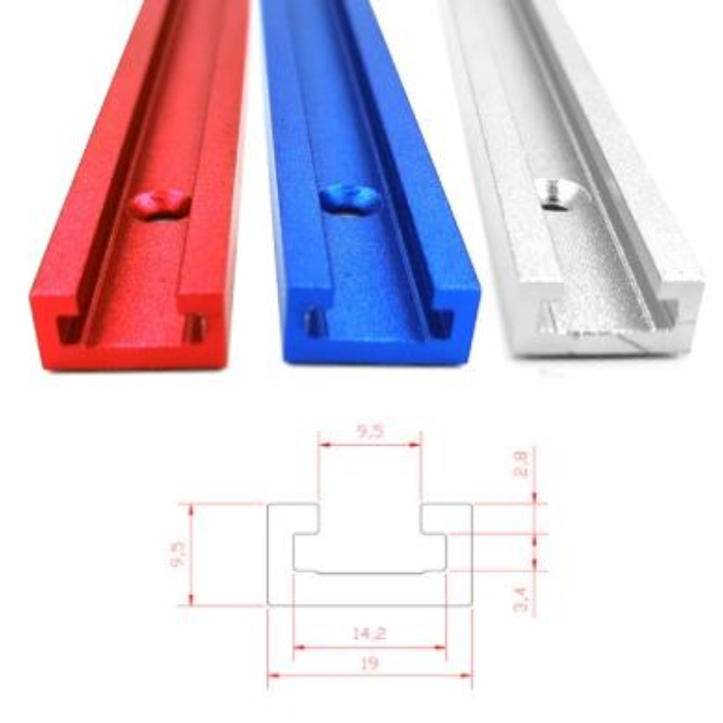 T-track T-slot Miter Track Jig T Screw Fixture Slot 19x9.5mm Table Saw Router Table 300-600MM Chute Rail Woodworking Tool