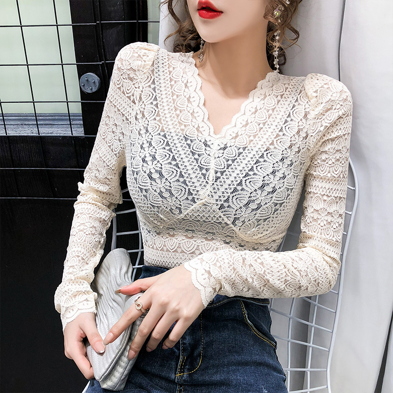 2020 New V-neck Lace Blouses Tees Female Full Sleeve Stretchy Hollow Out Elegant Thin Blouse Shirt Tops For Women