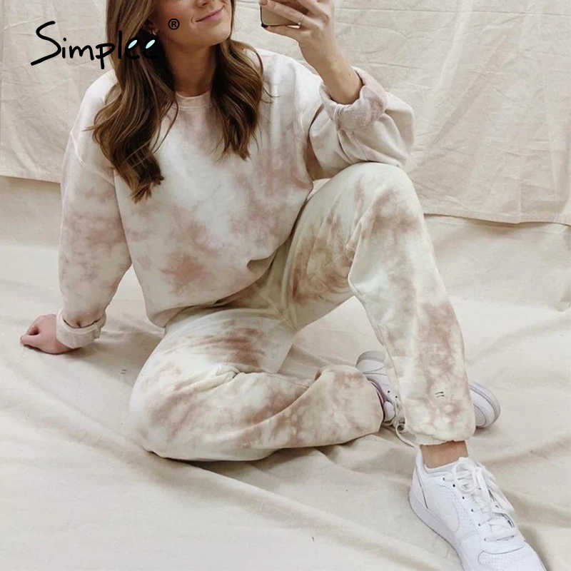 Simplee Plus Size Herfst Winter 2020 Vrouwen Suits Tie Dye 2 Pecs Suits Casual Dames Streetwear High Fashion Oversize Set suits