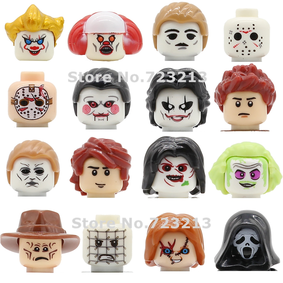 Single Horror Movie The Ring Figure Head Scream Face Pennywise Billy Freedy Jeepers Creepers Building Blocks Set Bricks Toys