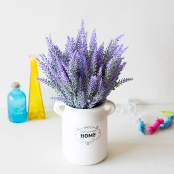 1 Bundle Artificial Flowers Romantic Provence Lavender Plastic Wedding Decorative Vase for Home Decor Grain Christmas Fake Plant 1