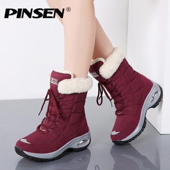 PINSEN nowe buty damskie zimowe wysokiej jakości utrzymać ciepłe połowy łydki buty śniegowe damskie sznurowane wygodne buty damskie chaussures femme tanie i dobre opinie Szycia RUBBER Dla dorosłych Stałe Zima Niska (1 cm-3 cm) Buty śniegu Winter Women Boots Boots Women Lace-up Okrągły nosek