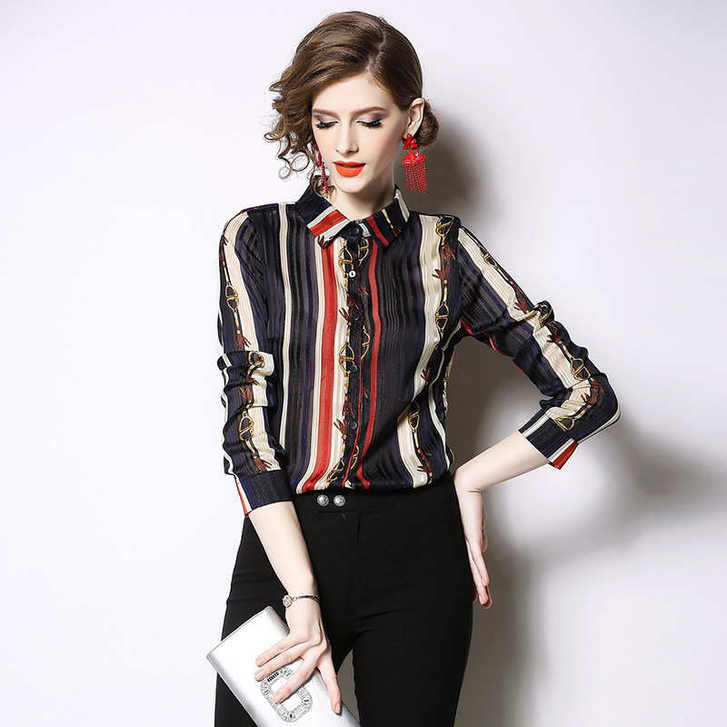 Striped Women Blouse Long Sleeves Office Lady Tops And Blouses Chiffon Blusa Feminina Turn Down Collar Blusas Verano Mujer 2020