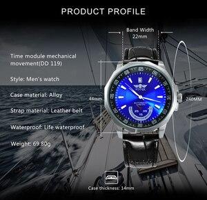 Image 2 - Vencedor oficial militar esportes relógio masculino automático mecânico sub mostradores calendário pulseira de couro dos homens relógios marca superior luxo
