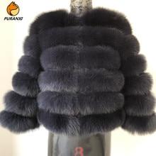 Женская Шуба из натурального меха лисы, Короткая Толстая теплая шуба для девочек, роскошная верхняя одежда с рукавами, зима 2019