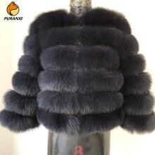 2019 frauen natürliche echt blue fox pelz mantel jacke kurze dicke warme echte winter luxus für grils oberbekleidung mit ärmeln