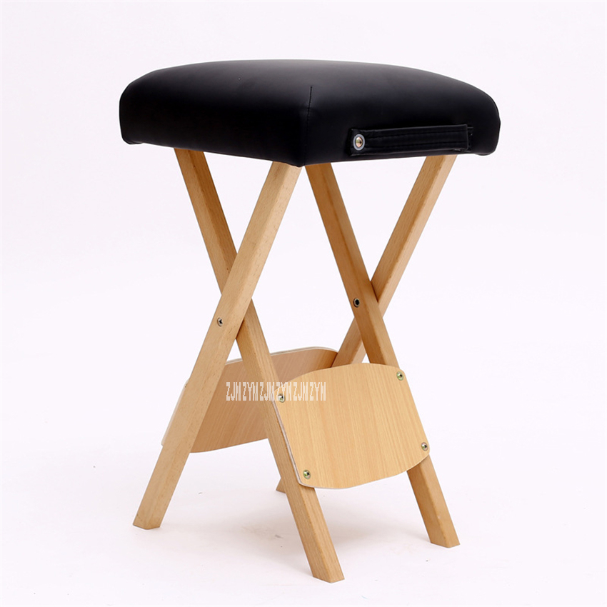 MT-002 Modern Simple Small Solid Wood Beech Square Folding Stool Thickened Sponge Portable Beauty Technician Massage Low Stool
