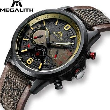 MEGALITH 2019 nuevas llegadas relojes hombre Correa marrón reloj de pulsera deportivo cronógrafo hombres reloj de hombre impermeable reloj de reloj