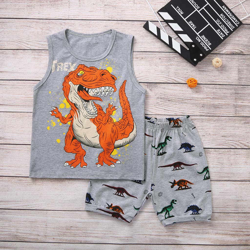 Baby Boy Kids Toddler Cartoon Dinosaur Vest Tops+ Shorts Pajamas Outfits Set kids dresses for boys toddler boy clothboys clothes