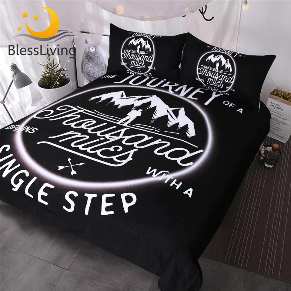 BlessLiving Rock Climber Abstract Bedding Set 3 Piece Black and White Duvet Covers with Quotes Extreme Sports Home Textiles