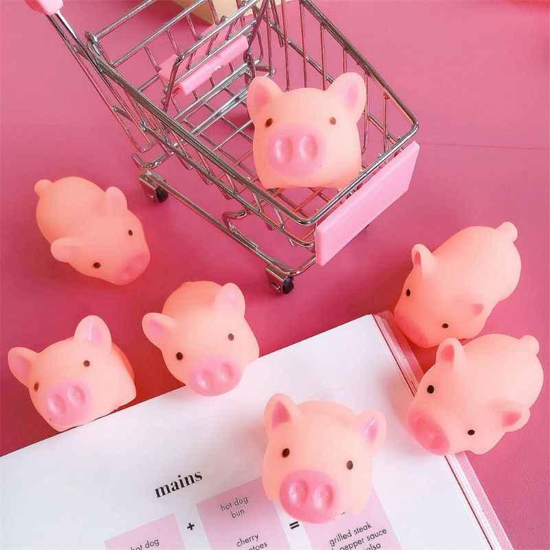Kawaii الوردي خنزير الحيوان ضغط لعبة حمام الطفل لعبة غرفة نوم الجرس العملي Jokes الاطفال هدية 40JC