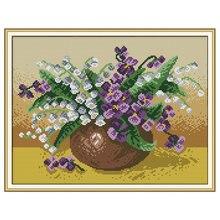 Joy sunday Новый Набор для вышивки крестиком ваза рукоделия