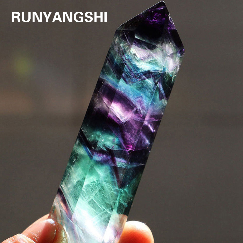 Natural Fluorite Crystal Colorful Striped Fluorite 4-7CM Quartz Crystal Stone Point Healing Hexagonal Wand Treatment Stone(China)