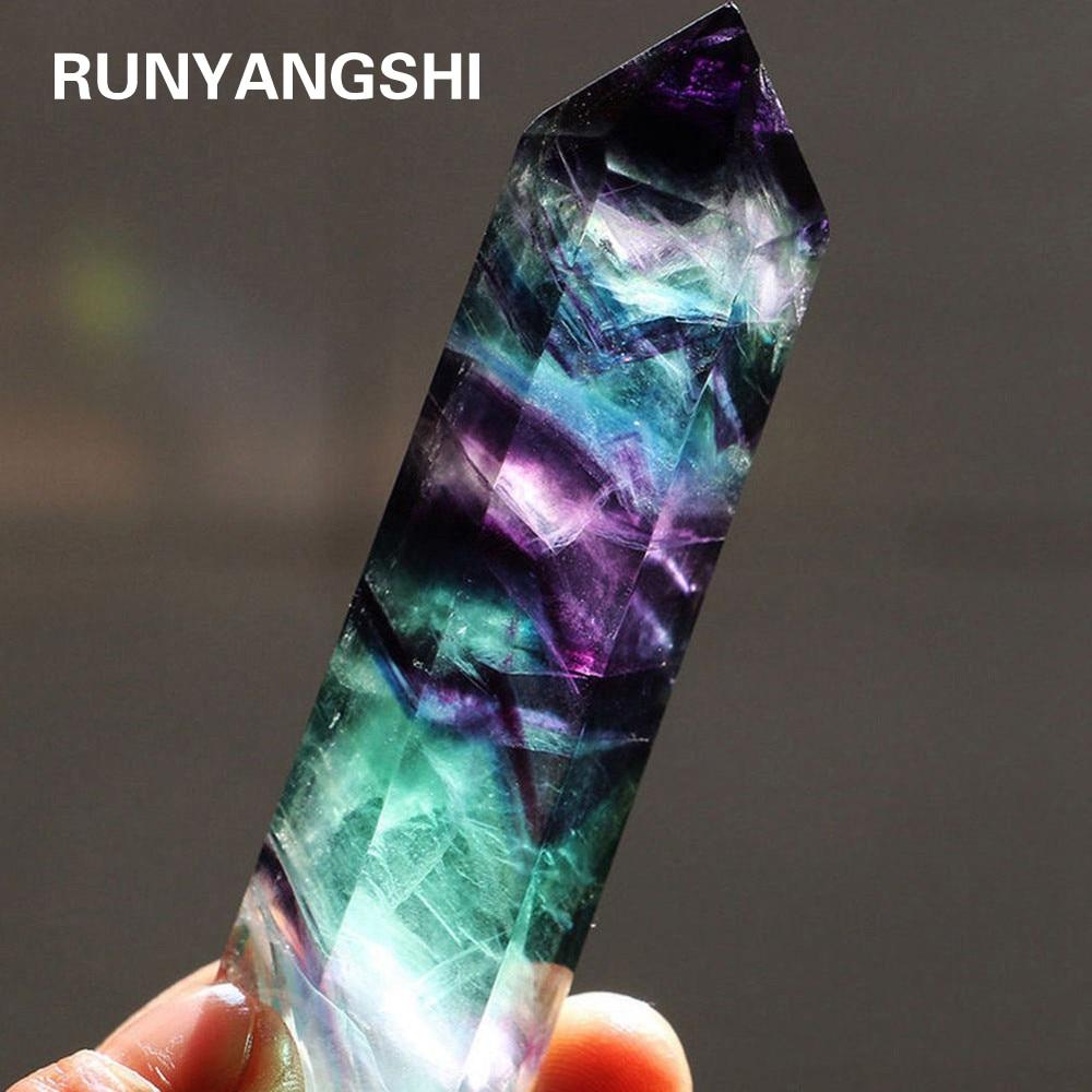 Natural Fluorite Crystal Colorful Striped Fluorite 4-7CM Quartz Crystal Stone Point Healing Hexagonal Wand Treatment Stone