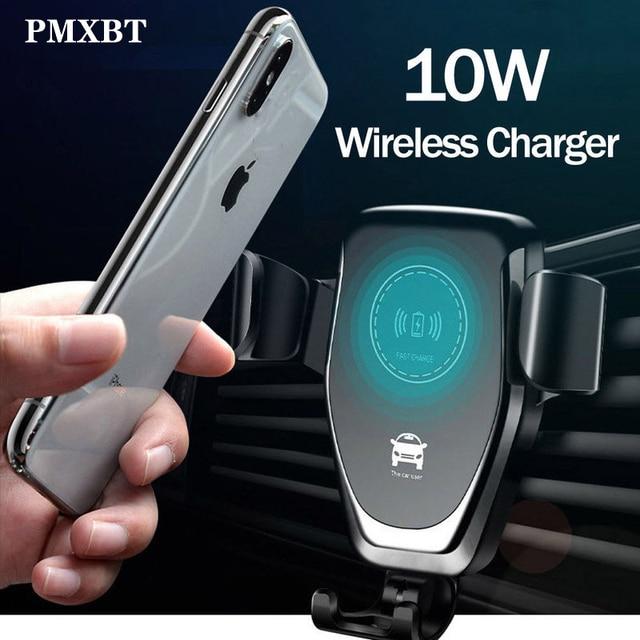 10W Qi kablosuz araç şarj kızılötesi sensör otomatik sıkma tutucu iPhone 8 artı Samsung S9 araba hızlı şarj telefon standı