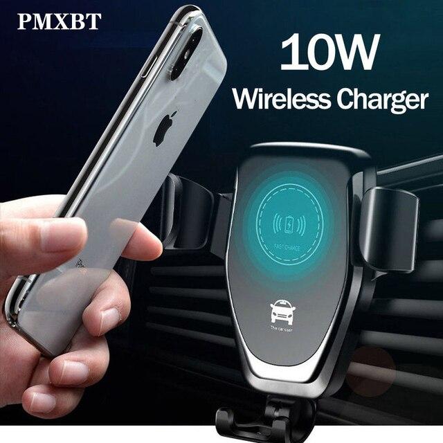 Supporto di serraggio automatico per sensore a infrarossi per caricabatterie per auto Wireless Qi da 10W per iPhone 8 Plus supporto per telefono a ricarica rapida per auto Samsung S9