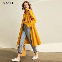 Amii Vrouwen Elegante Trenchcoat Fashion Solid Losse Single-Breasted Turn Down Kraag Vrouwelijke Midden Lange Jassen 11920205
