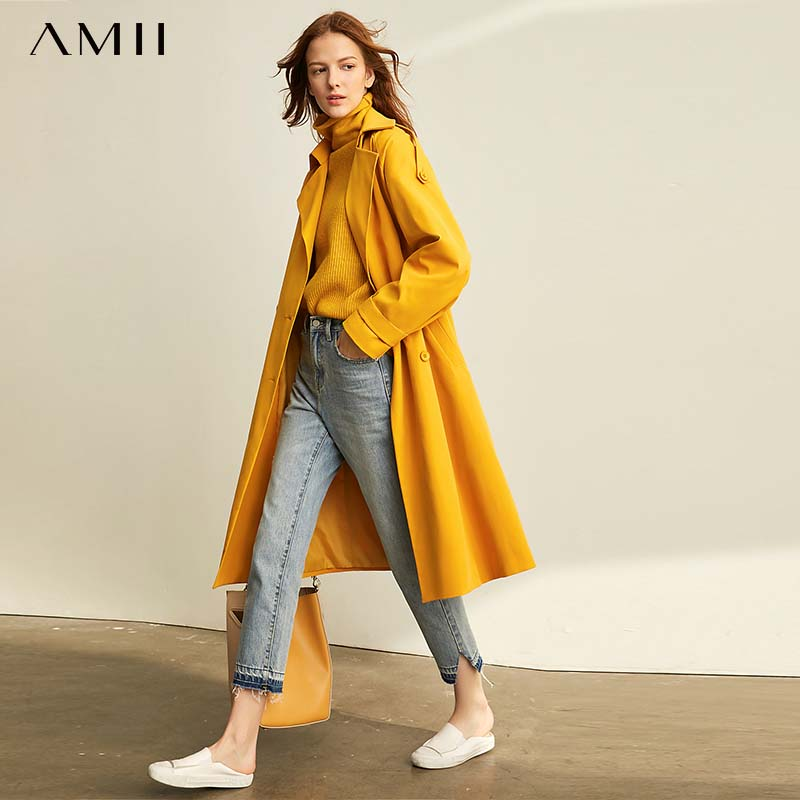 Amii Women Elegant Trench Coat Fashion Solid Loose Single-breasted Turn Down Collar Female Mid Long Jackets 11920205
