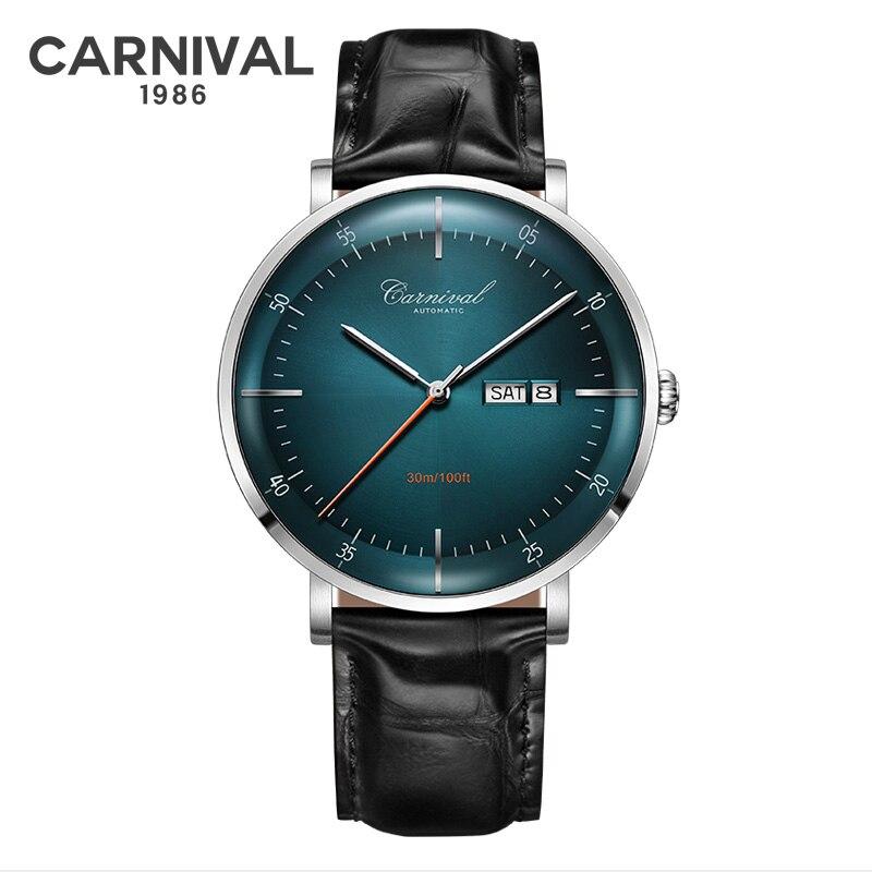 MIYOTA Movement Mechanical Watches Top Brand CARNIVAL Fashion Automatic Watch Men Calendar Week Waterproof Leather Band Sapphire