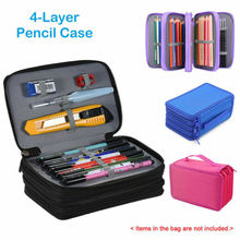 лучшая цена 4 Layers 72 Slots Large Pencil Brush Case Box Pen Pouch Bag Makeup Storage Bag