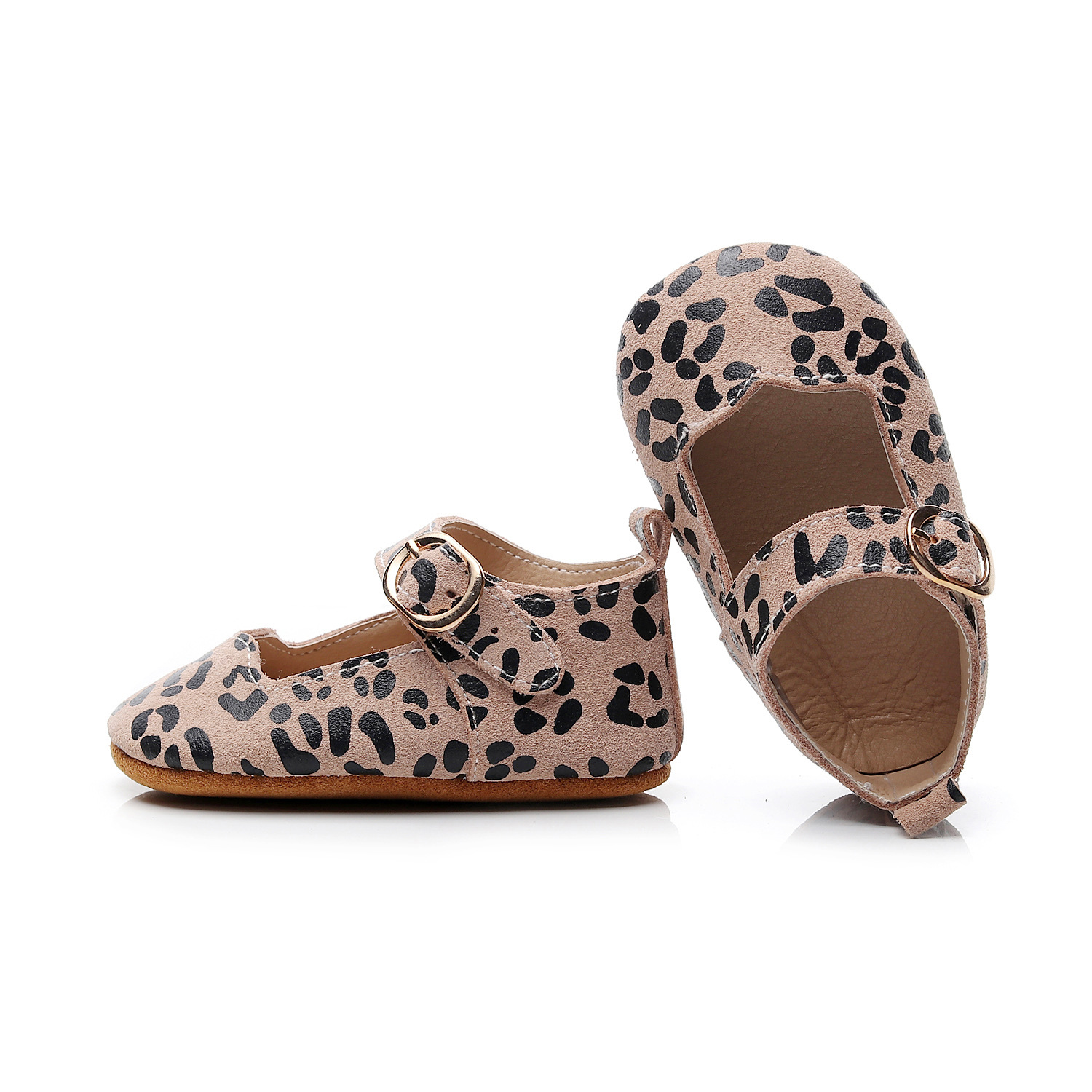 Spring New Designs Genuine Leather Baby Moccasins Girls Shoes Leopard Mary Jane Flats Princess Shallow Toddler First Walkers