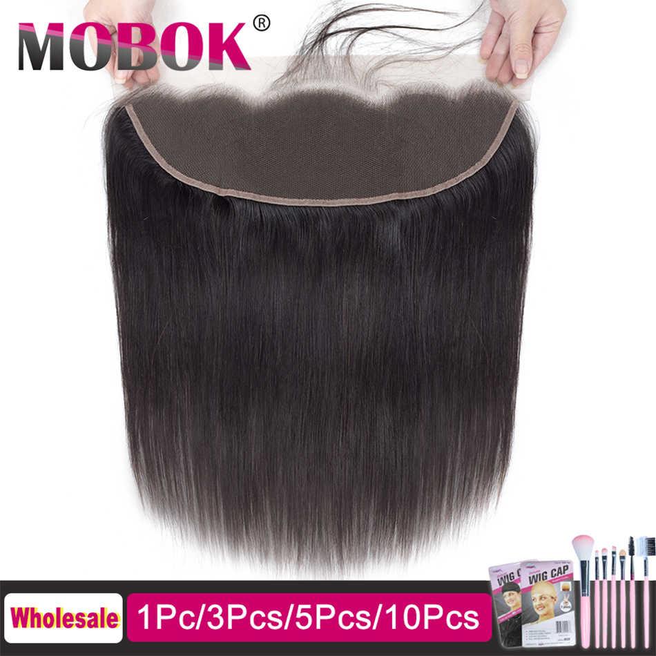 "MOBOK Haar Brasilianische Gerade Menschenhaar Spitze Frontal Verschluss 13*4 mit Baby Haar 8 ""-22"" natürliche Farbe Nicht-remy Webart Verschluss"