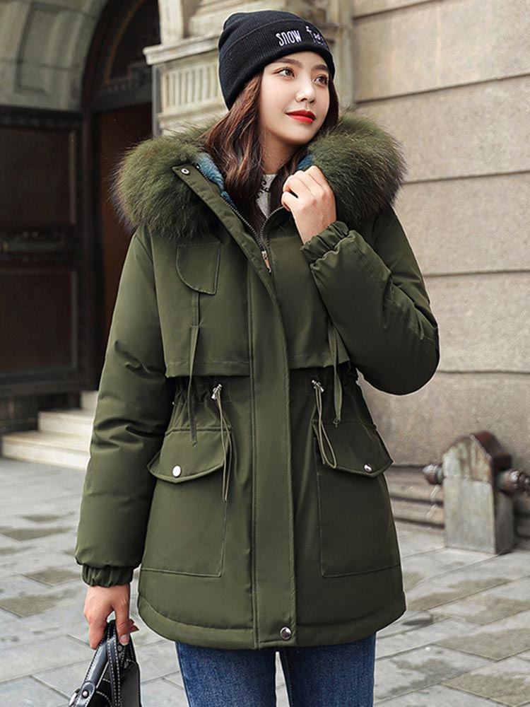 Jacket Coat Hooded-Parka Lining Thicken Vielleicht Mujer Cotton Women Fur Casual