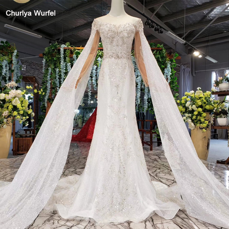 HTL940 Boho Wedding Dress Mermaid Detachable Long Sleeve Shawl Illusion O-neck Lace Wedding Gown Bride Dress Up Sexy Casamento