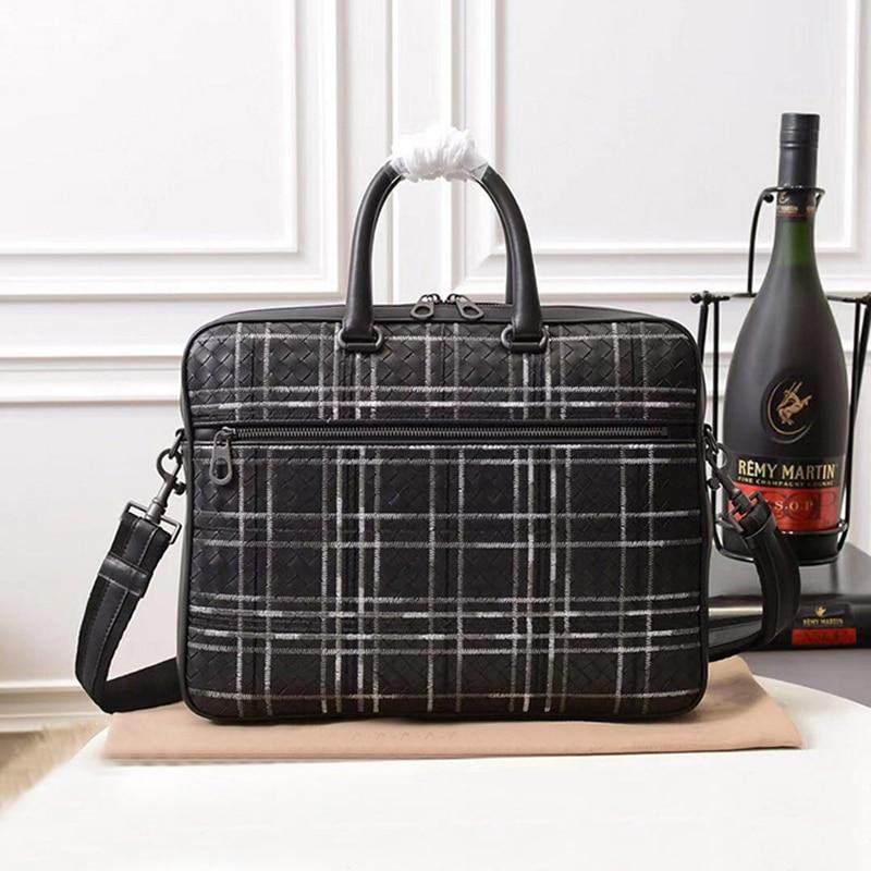 Men Handbag Briefcase-Bag Laptop-Bag Embroidery Shoulder Genuine-Leather Custom First-Layer