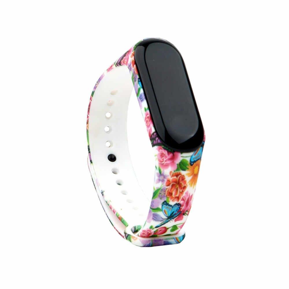 Bracelet de montre en Silicone souple 40 couleurs, pour montre connectée Xiaomi Mi band 4 band 3, Bracelet imprimé fleur, accessoires