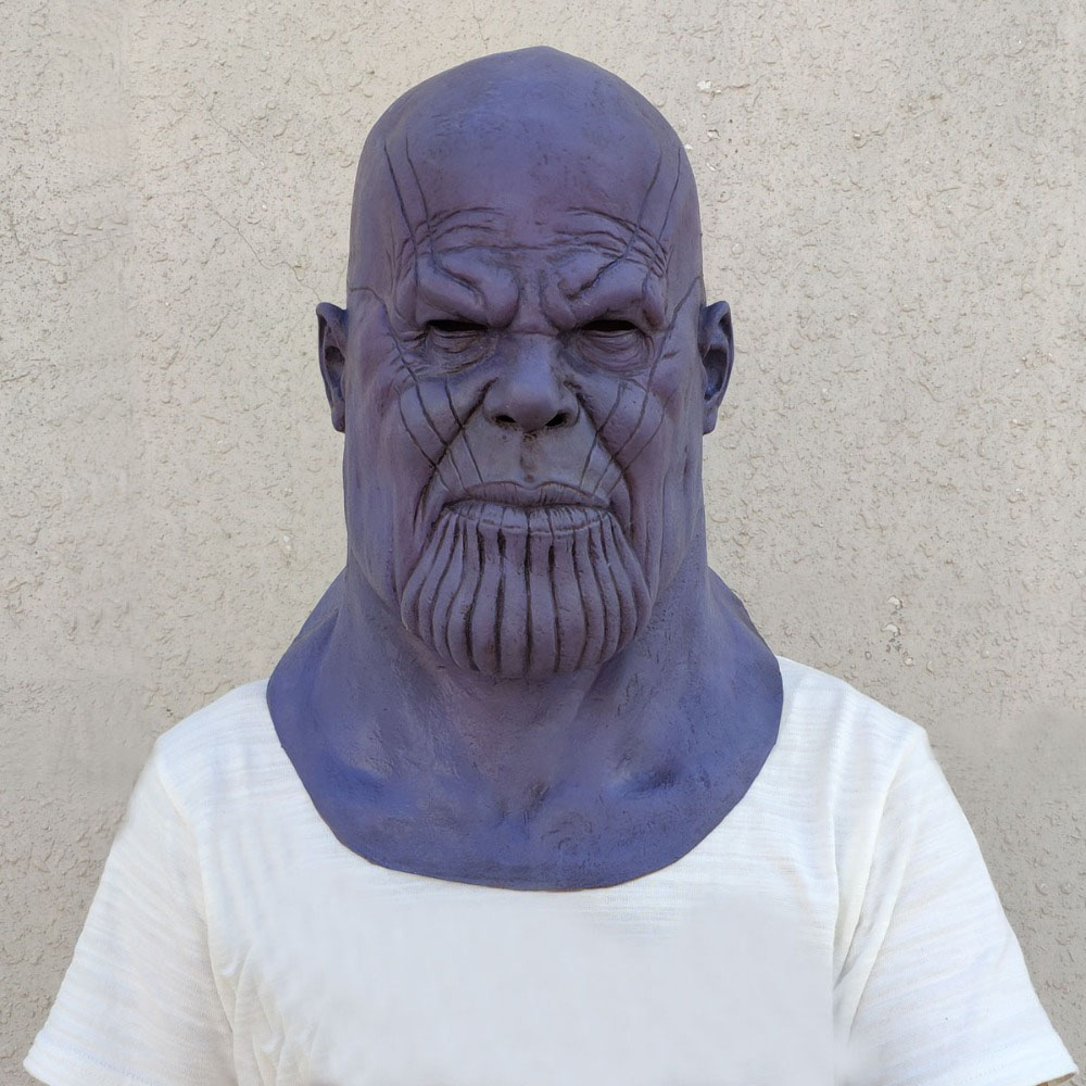 Deluxe Thanos Mask Infinity Gauntlet Avengers Infinity War Gloves Helmet Cosplay Thanos Masks Halloween Party Collection Props chair