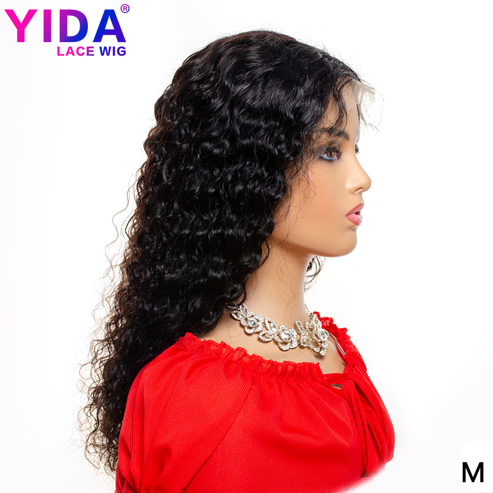 13x4 Lace Front Human Hair Wigs Brazilian Kinky Curly Human Hair Wigs Remy Medium Brown Lace 150% Density YIDA Wig